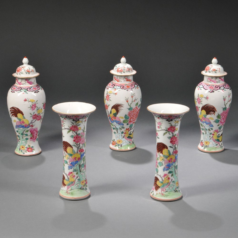 Five-piece Famille Rose Garniture Set, Chinese export,