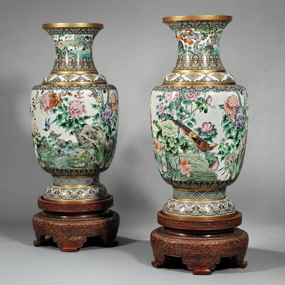 Pair of Monumental Cloisonne Vases and Wood Stands,