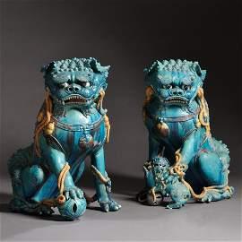 Pair of Large Buddhist Lions, China, 17th century,
