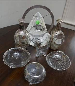 Crystal and glass serving dishes with silver plate