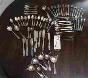 Silver plate & stainless flatware, approximately 50