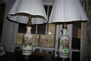Pair of hand painted vintage porcelain boudoir lamps,