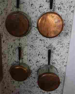 4 Revere Ware pots with copper bottoms, 2 copper molds
