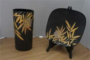 Rosenthall studio line black with gold accent vase &