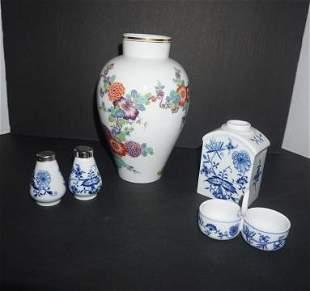 "Meissen porcelain vase 8 1/2"" h, blue & whte salt &"