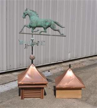 """Copper horse weather vane 62"""" h with an extra base"""