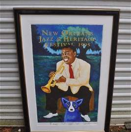1995 New Orleans Jazz Fest poster, Blue Dog by George