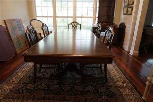 Mahogany dining table with double pedestal, each