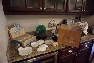 Vintage glass: 9 blue plates, Homestead Snack Set in