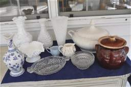 Assortment of milk glass, porcelain & pottery