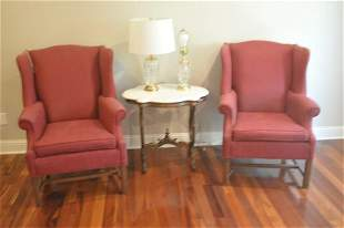 Pair of upholstered arm chairs, mahogany legs