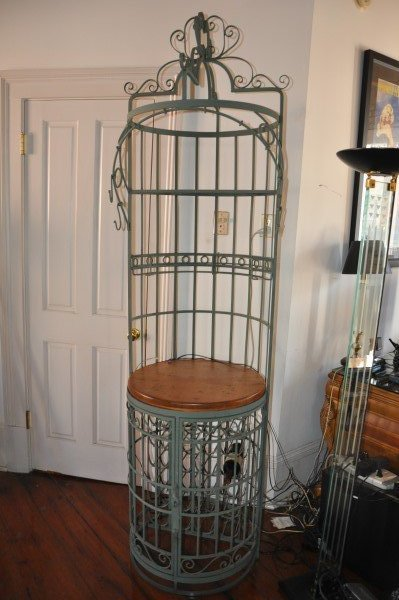 "Wrought iron wine rack, 8' H x 1'11"" round - 2"