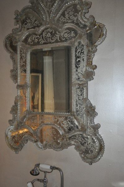 "Beautiful ornate antique Venetian Mirror, 4'3'"" H x"