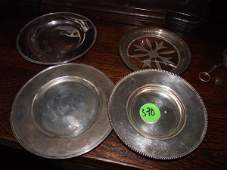 """2 small sterling plates, 6 1-2"""", 1 sterling plate, 6"""","""