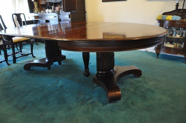 Beautiful large antique mahogany Empire style table, 4
