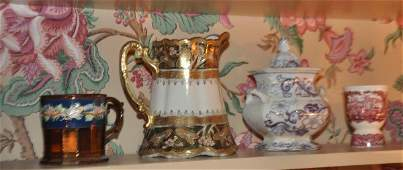 Hand painted Nippon pitcher lusterware cup lavender