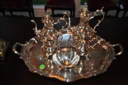 "Reed & Barton silver plate tea set on tray ""Winthrop"":"