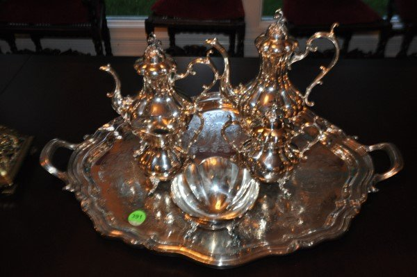 "Reed & Barton silver plate tea set on tray ""Winthrop"":"