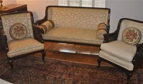 Victorian mahogany 3 piece parlor set, settee, ladies