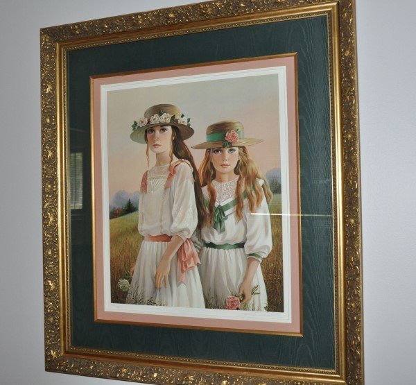 "Framed Print by Patty Banister ""SISTERS"", double mat (1"