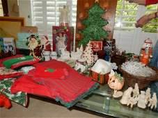 Large assortment of Christmas ceramic tree Santas