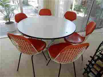 1960 Herman Miller round white laminate table with 6