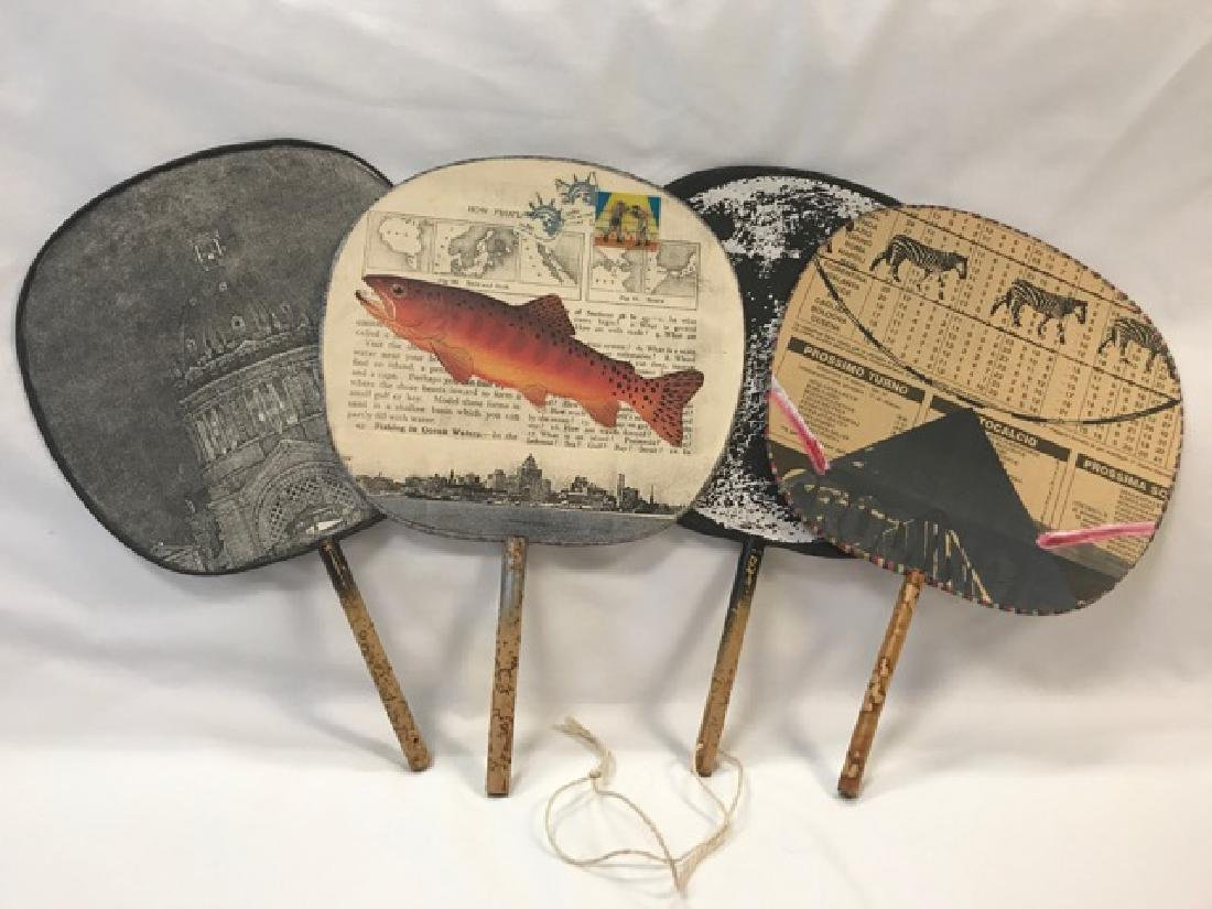 Four Paper Decoupaged Fans