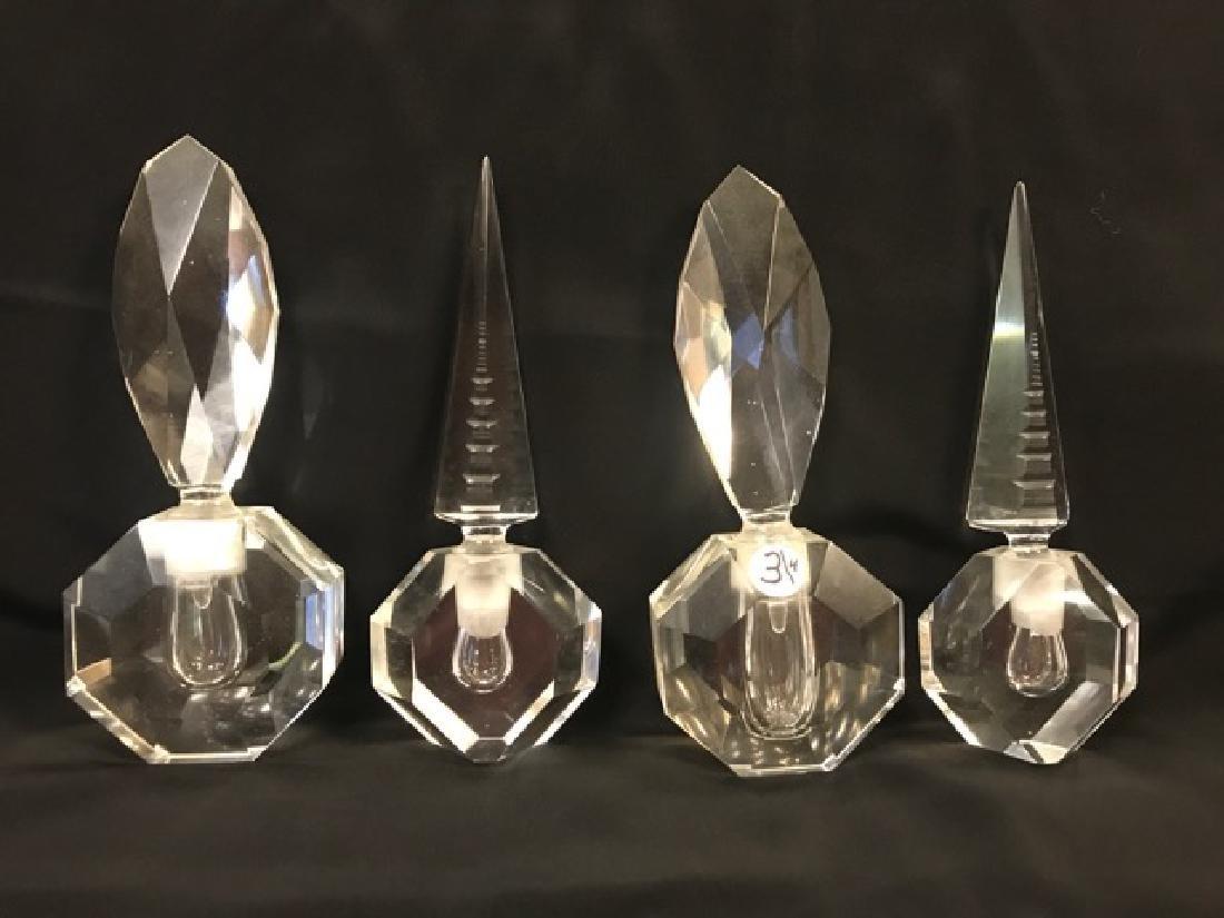 Four Cut Crystal Perfume Bottles