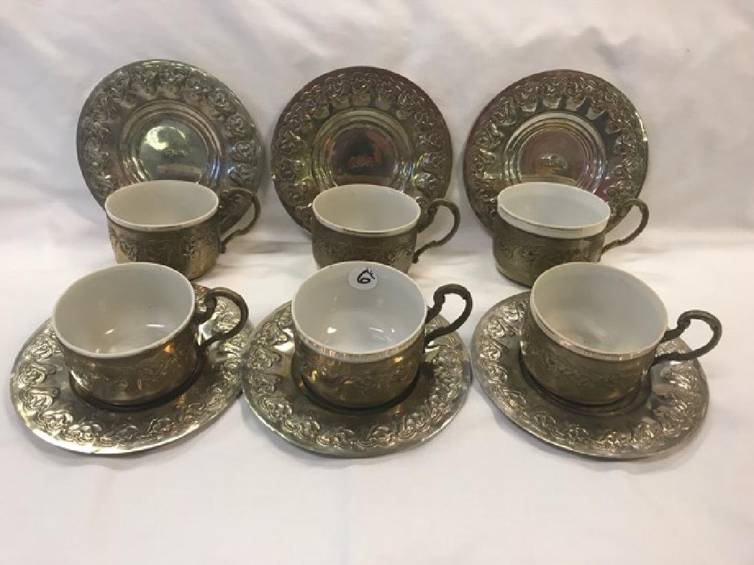 Egyptian Silver Cups and Saucers