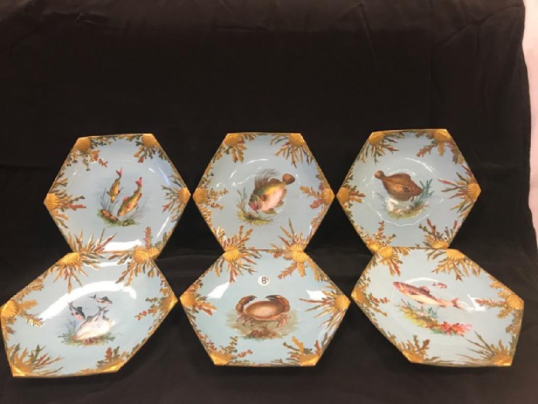 Six Bodley Hexagonal Fish Plates
