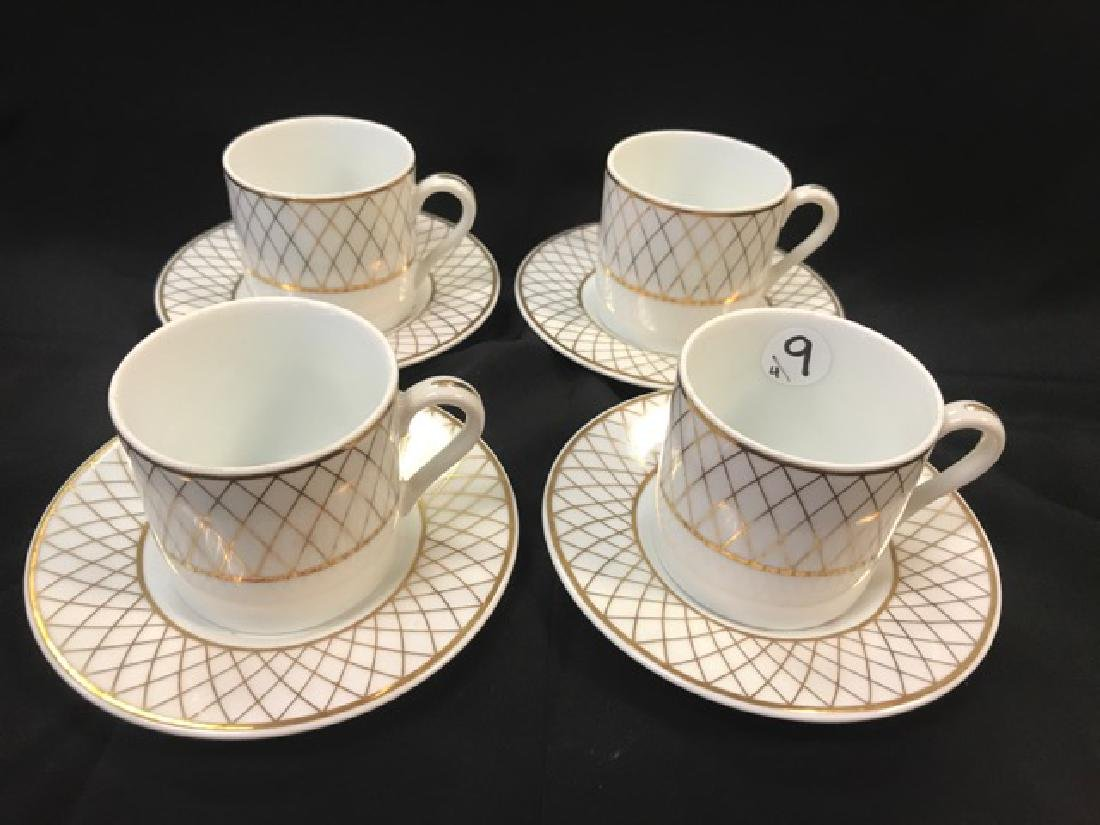 Set of 4 Tiffany Cups & Saucers