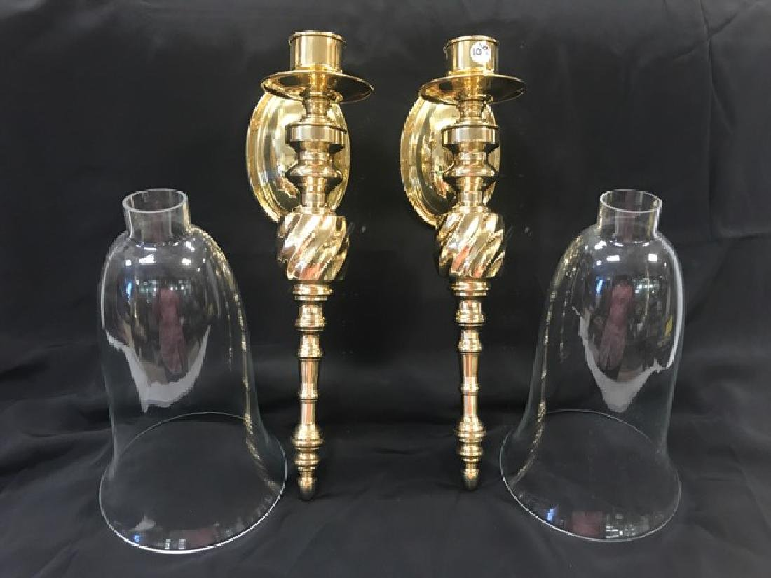 Pair of Brass Candle Wall Sconces