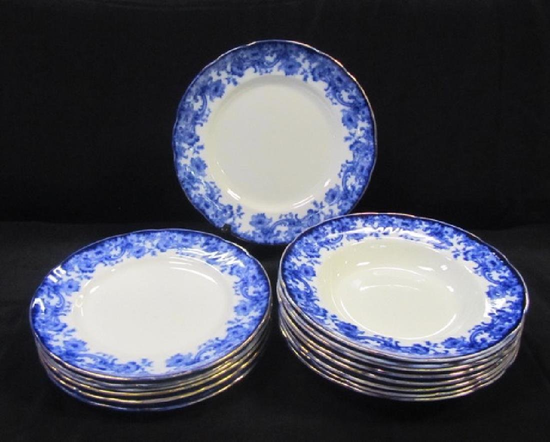 Doulton Burslem Flow Blue Plates & Bowls (15)