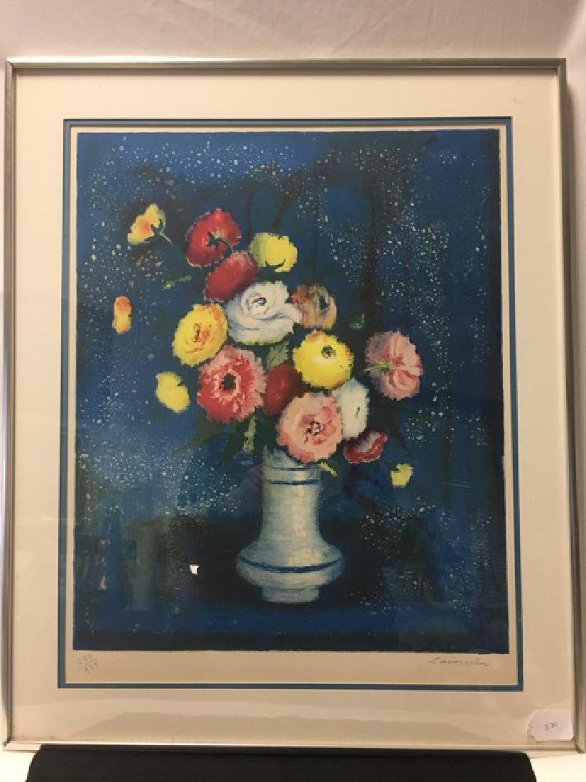 Floral Lithograph Signed