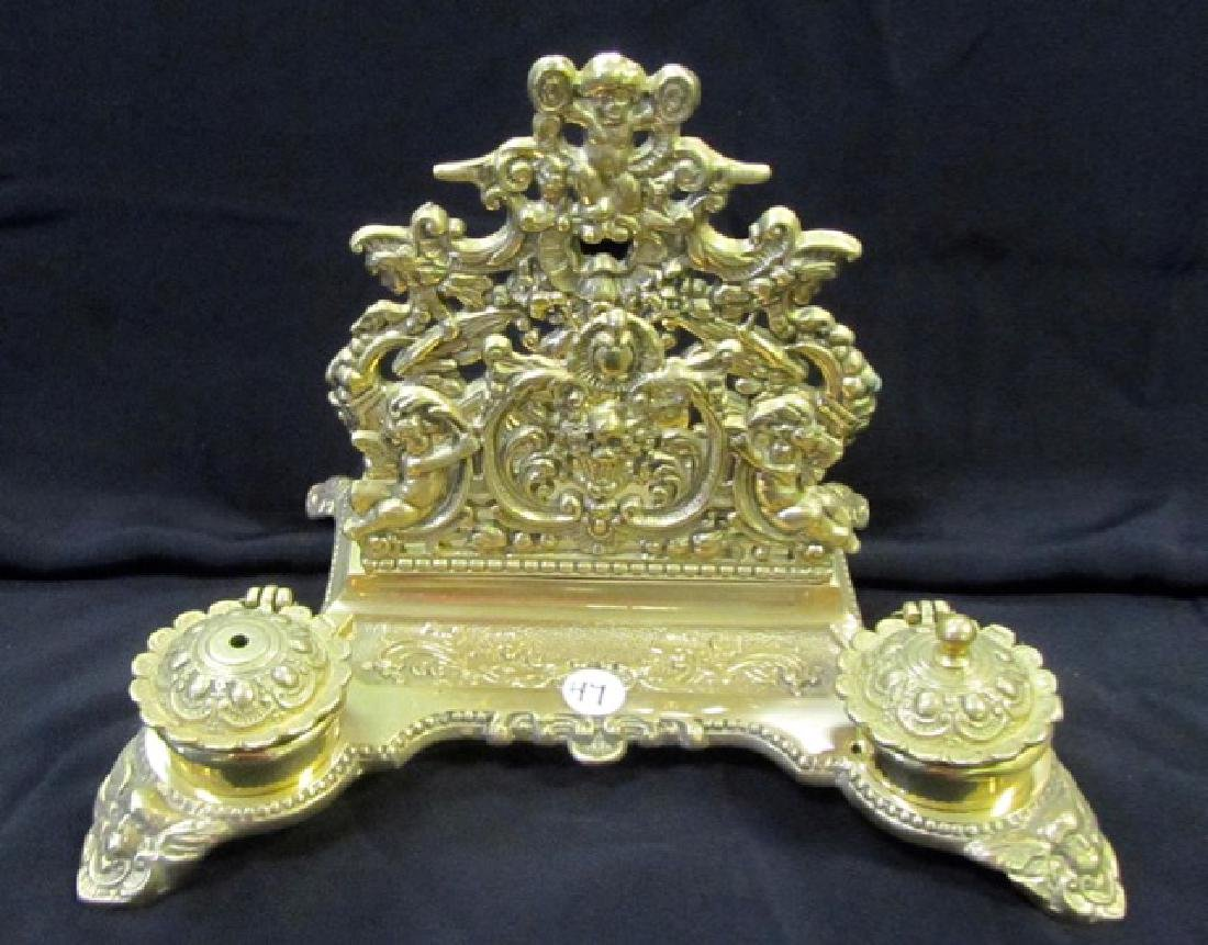 Brass Desk Set with Cherubs