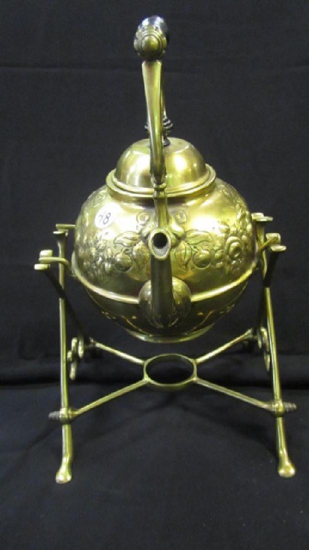 Brass Tea Pot on Stand - 2