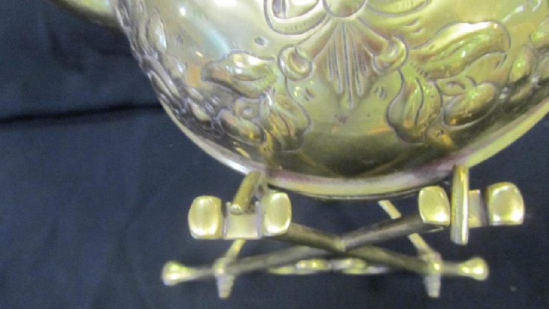 Brass Tea Pot on Stand - 3