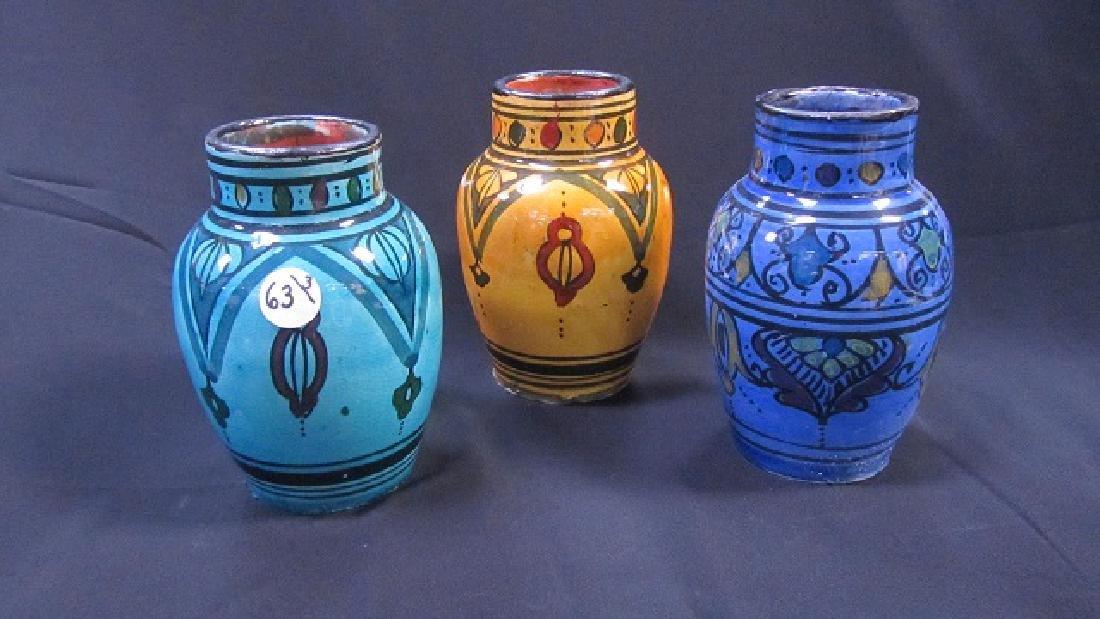 Three Colorful Glazed Clay Jars