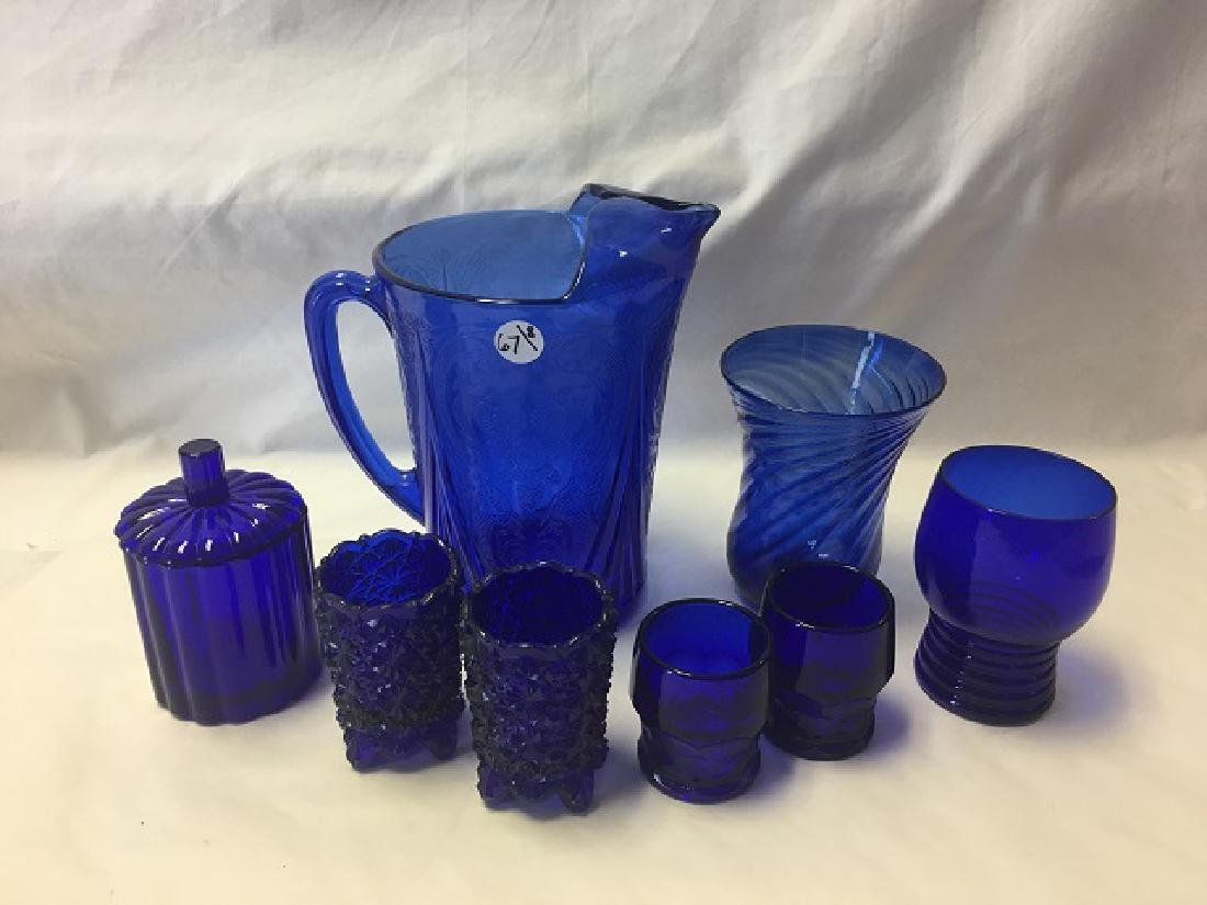 Cobalt Glass Lot (8)