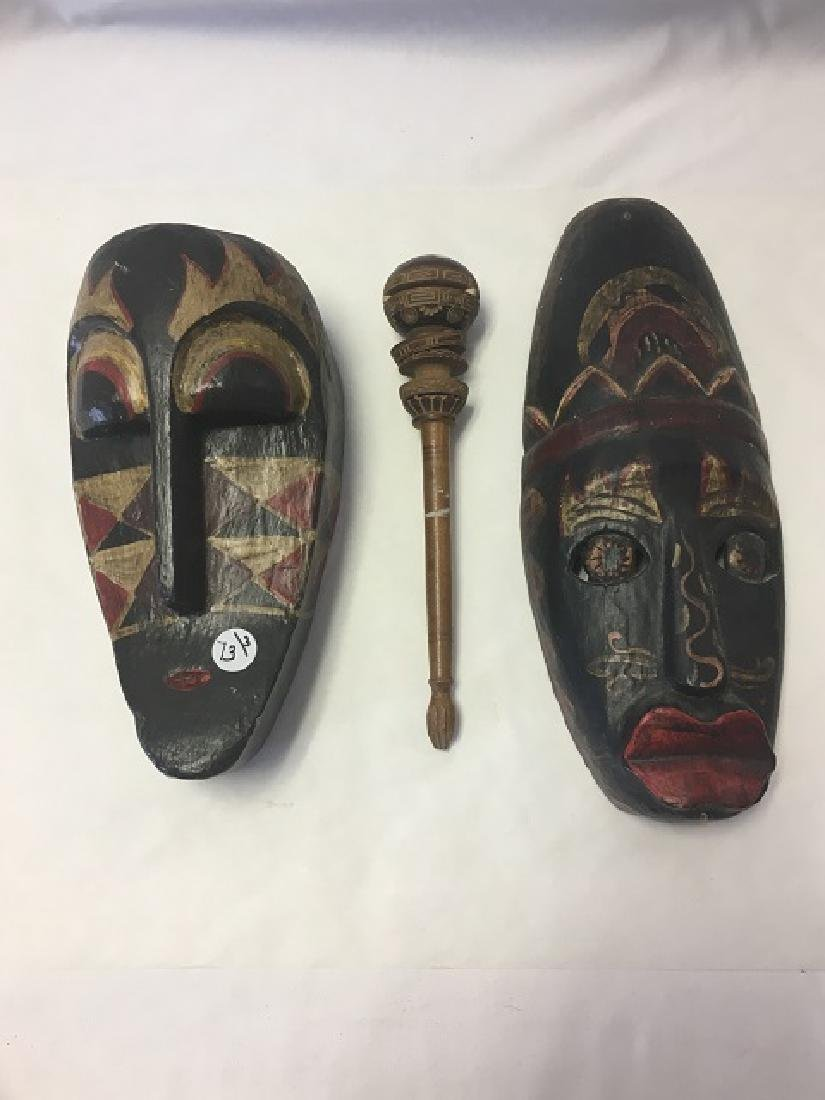 Two African Masks and a Sceptor