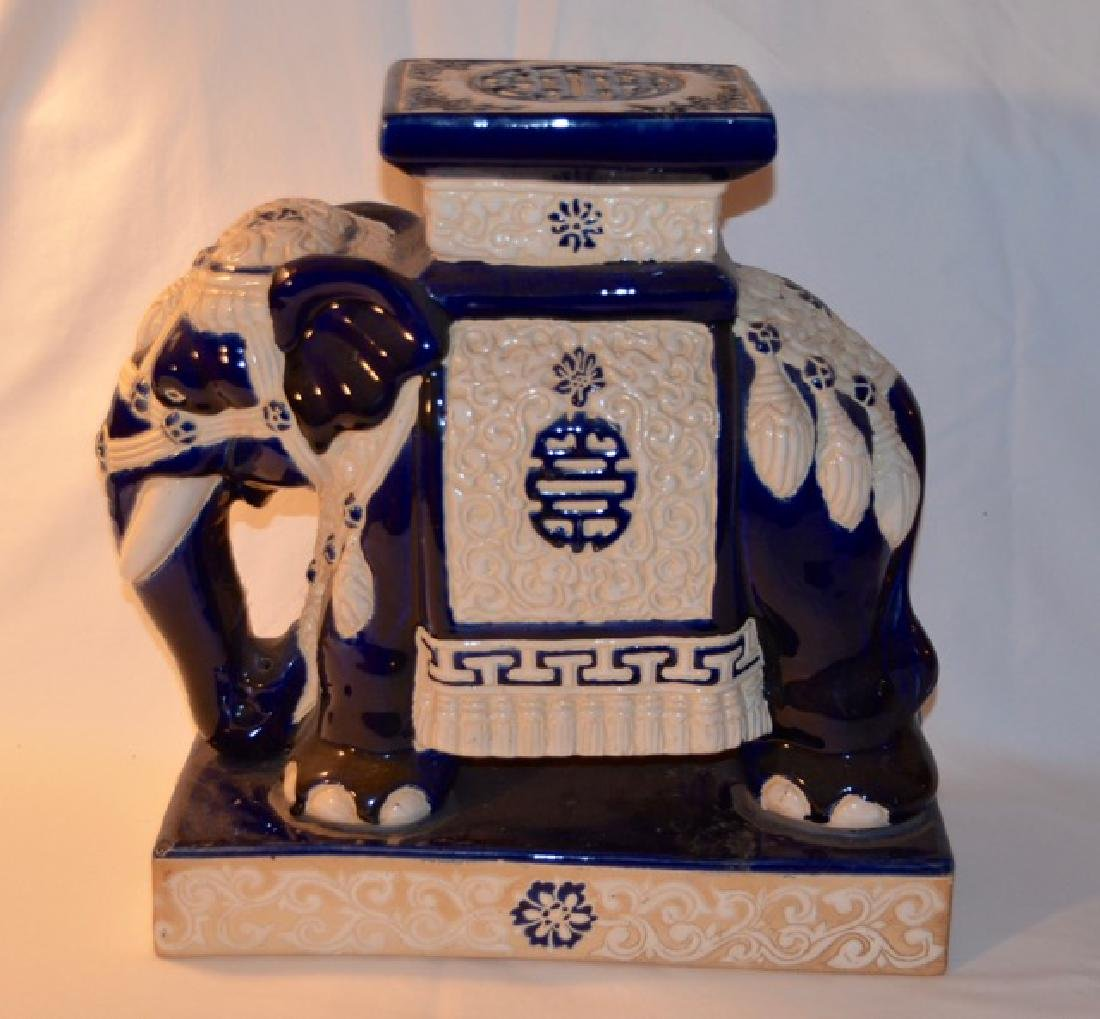 Blue & White Chinese Elephant Stand