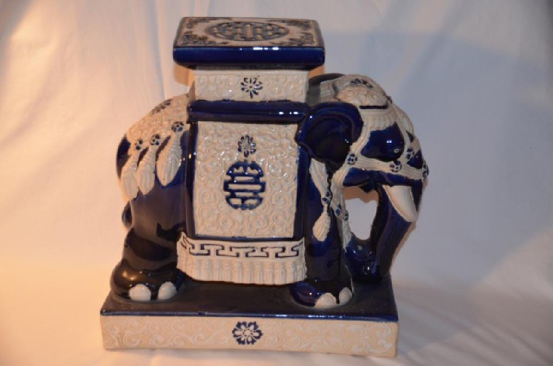 Blue & White Chinese Elephant Stand - 3