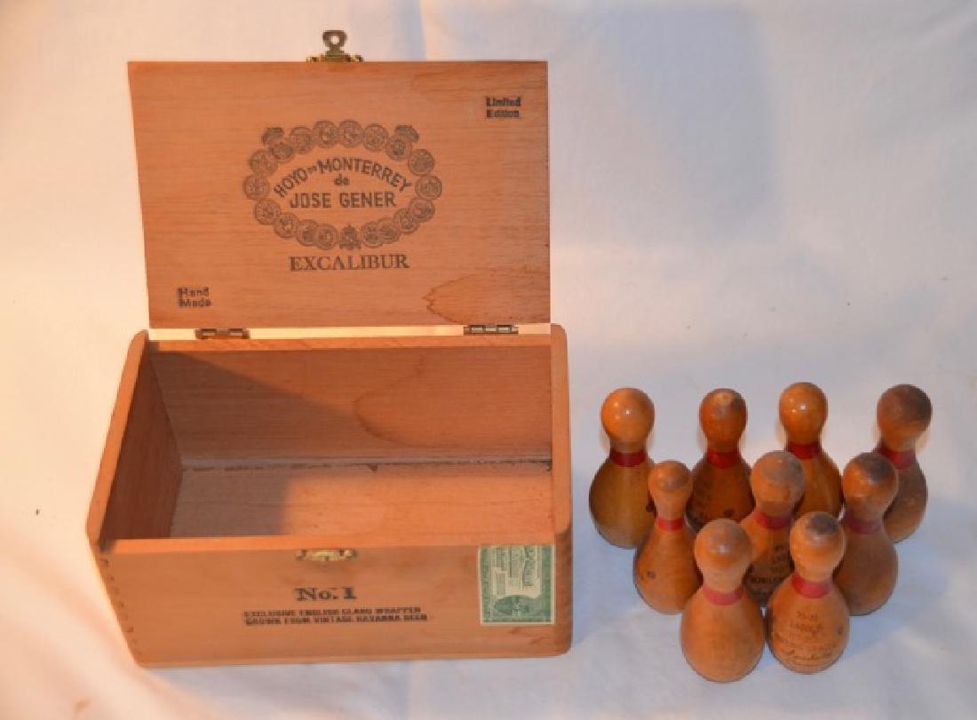 Wooden Miniature Bowling Pins (9) - 2