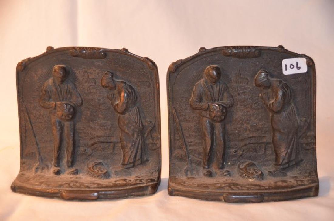 Cast Brass Bookends Couple Giving Thanks