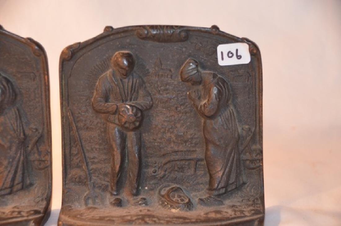 Cast Brass Bookends Couple Giving Thanks - 2