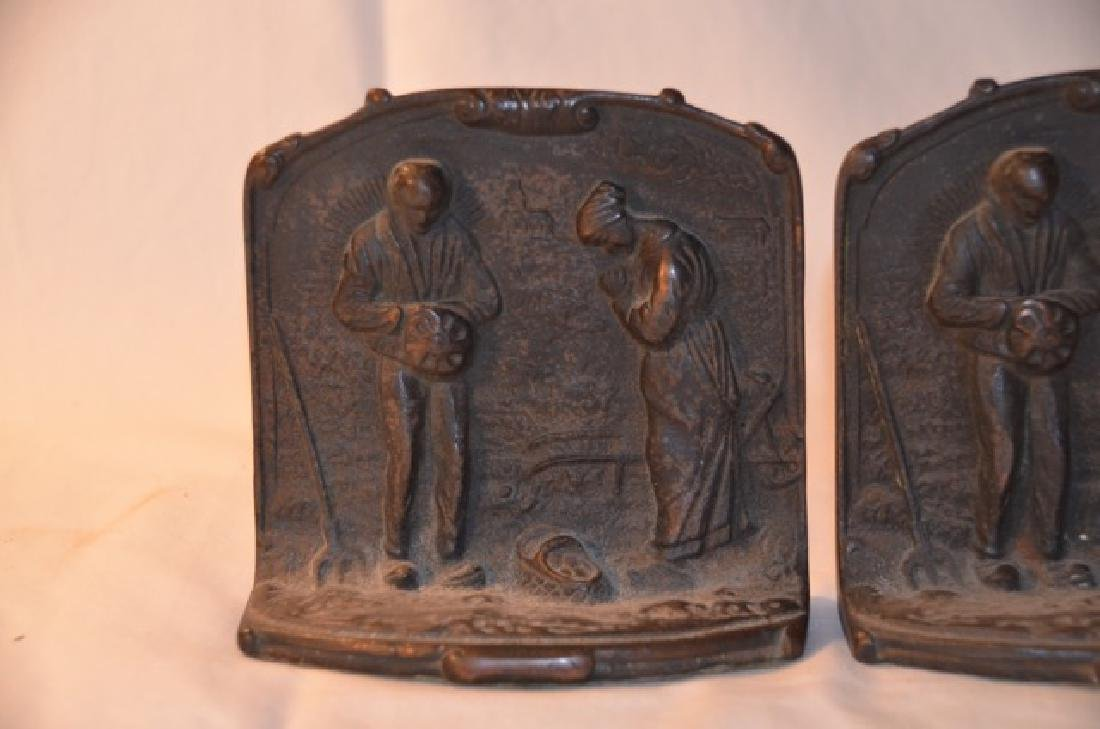 Cast Brass Bookends Couple Giving Thanks - 3