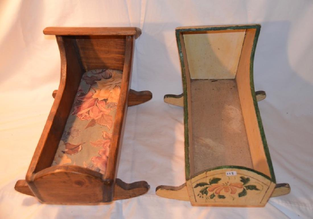 Two Wooden Doll Cradles