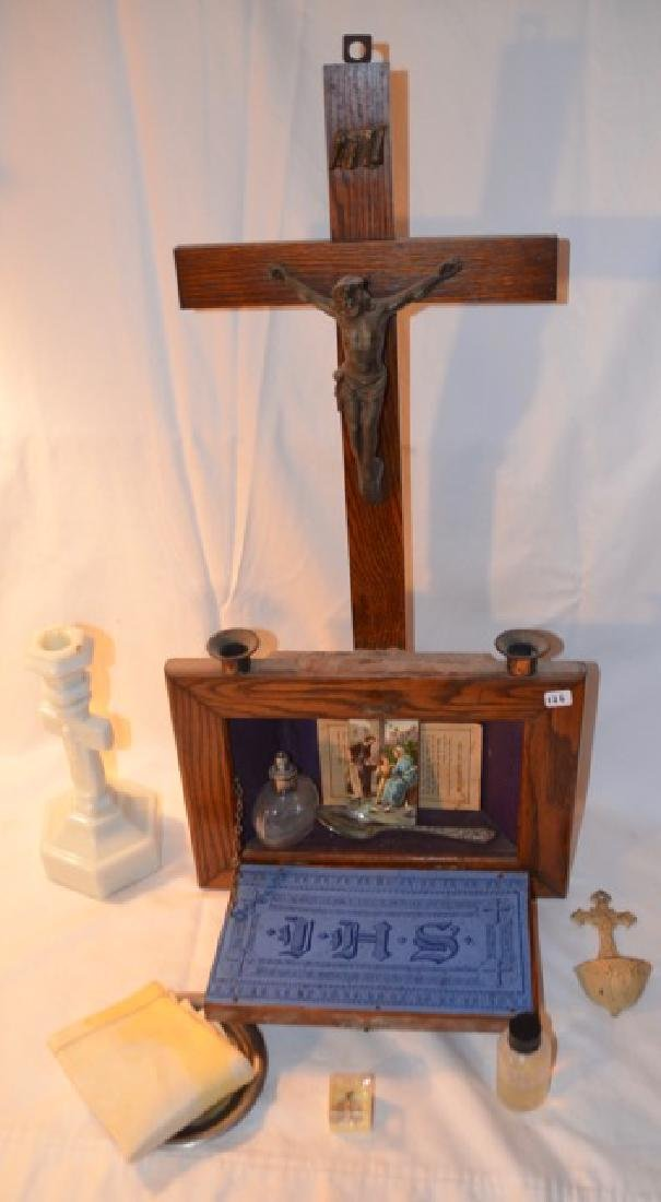 Wooden Wall Altar and other Religious Items