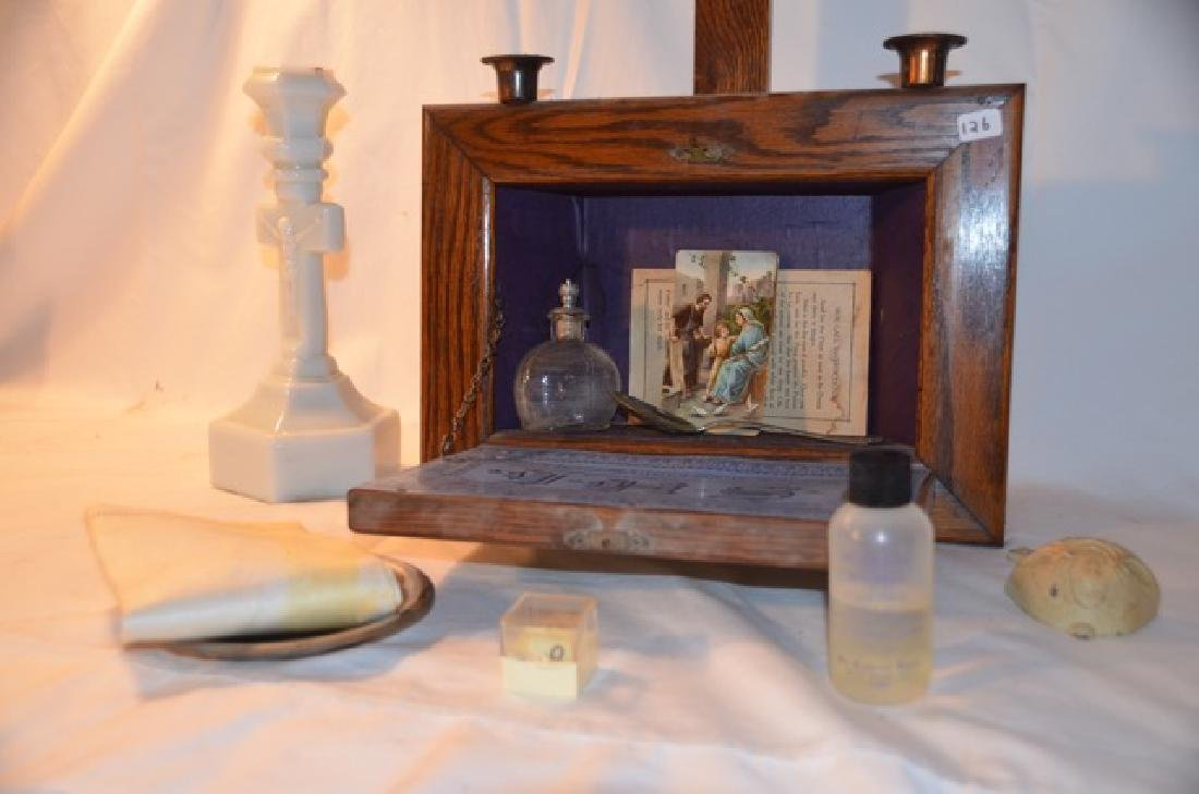 Wooden Wall Altar and other Religious Items - 4
