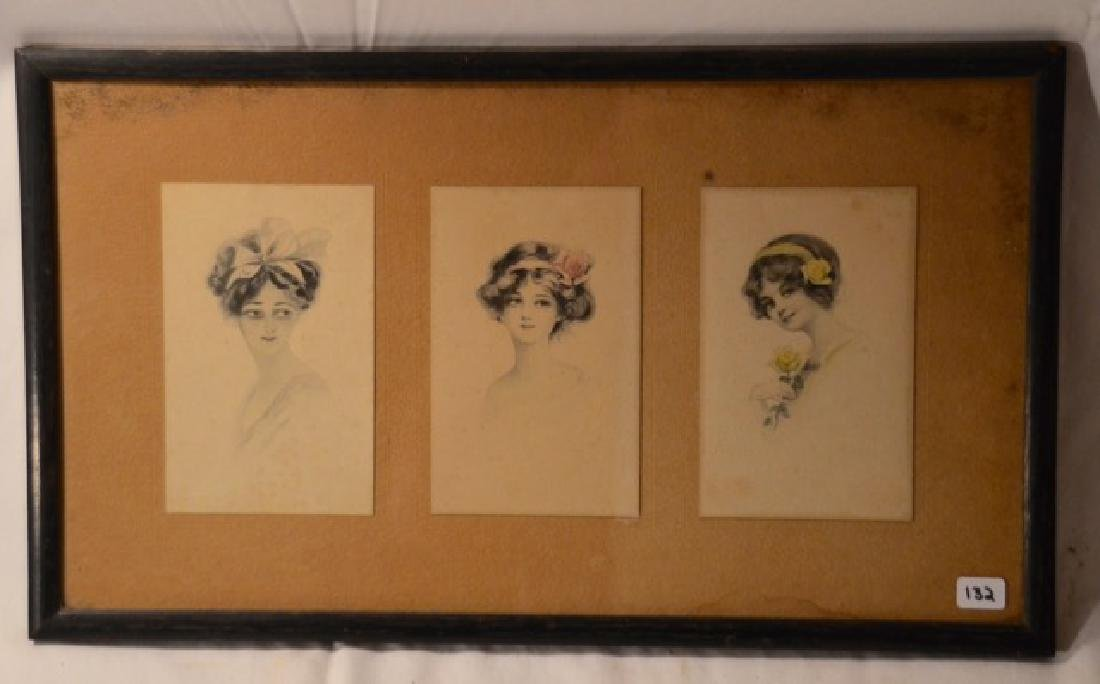 Gibson Girl Style Prints in a Frame